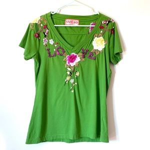 Johnny Was Embroidered Love Top